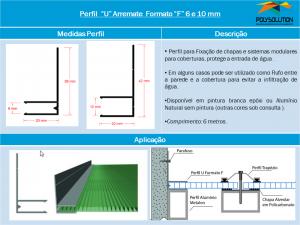 Linha de perfis para Instalação de Policarbonato -Perfil U Arremate F 6 e 10 mm -Polysolution