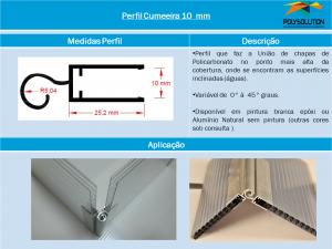 Perfil Cumeeira de Alumínio 10 mm - Polysolution