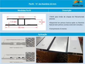 Perfil H de Alumínio 10 mm - linha de Perfis - Polysolution
