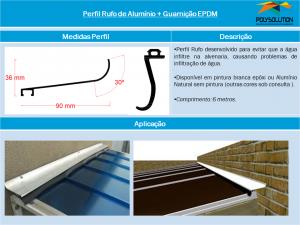Perfil Rufo de Alumínio 90 mm com Guranição EPDM - linha de Perfis - Polysolution