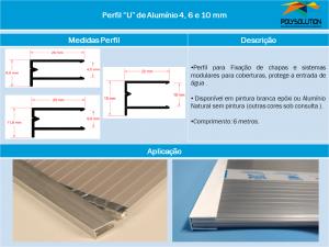 Perfil U de Alumínio 4, 6 e 10 mm - linha de Perfis - Polysolution