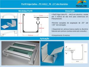 Perfil Viga-Calha PC 4412_76 Perfil com base de 76 mm e Aba Lateral maior de 90 mm -POLYSOLUTION - É Viga É Calha -