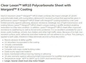 Policarbonato compacto MR10 anti risco e proteção UV 2 lados Polysolution 1