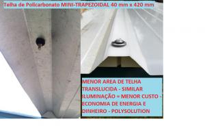 Mini-Telha de Policarbonato Trapezoidal TRA 40 mm x largura 420 mmx 5800mm -branco leitoso