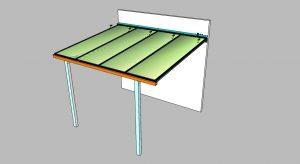 Detalhes conjunto 1 de uma cobertura de Policarbonato comperfis de aluminio Polysolution